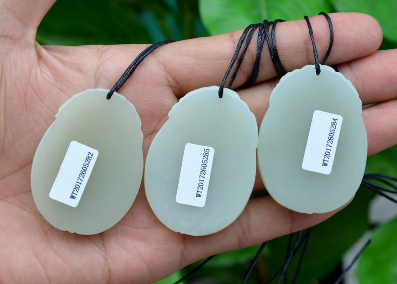 Natural White Nephrite Jade Snake Bamboo Pendant / Necklace w/Certificate