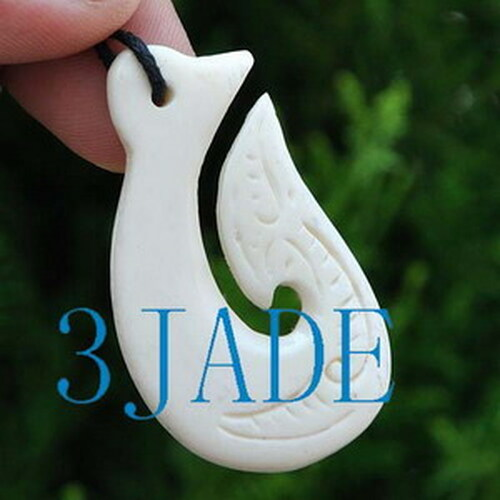 Hand Carved Bone Fish Hook Amulet Pendant New Zealand Maori Style Carving G029118