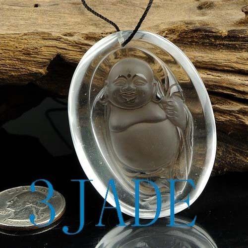 Clear Rock Crystal Quartz Buddha Amulet Pendant Talisman G028037