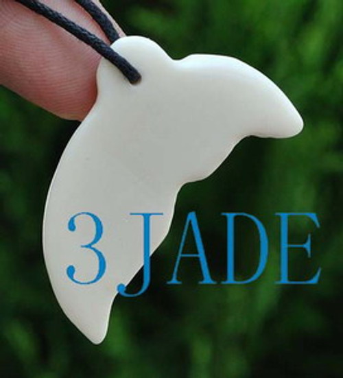 Hand Carved Bone Whale Tail Amulet Pendant NZ Maori Style Carving Art
