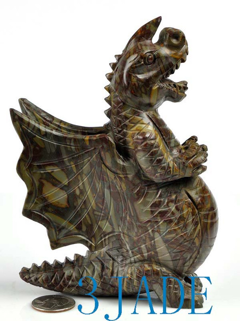 Hand carved natural jasper bamboo stone dinosaur sculpture