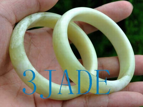 2 Natural Cloudy Xiu Jade / Serpentine 59mm Bangles Bracelets C005009