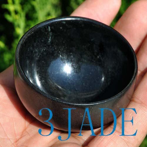 "2"" Hand Carved Natural Black Green Jade / Serpentine Bowl / Cup"