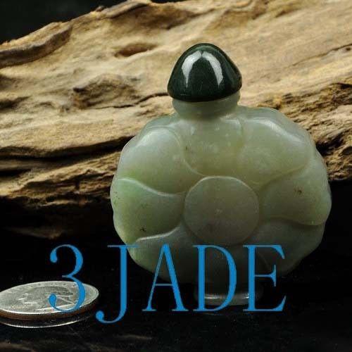 Hand Carved Natural Hetian Nephrite Jade Carving: Snuff Bottle N009135