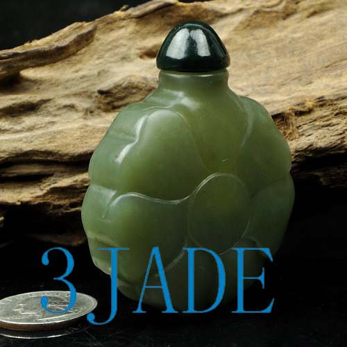 Hand Carved Natural Hetian Nephrite Jade Snuff Bottle Carving
