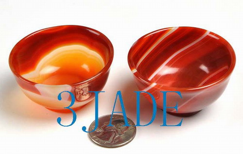 2PCS  Hand Carved Carnelian / Red Agate Cups / Bowls N013104