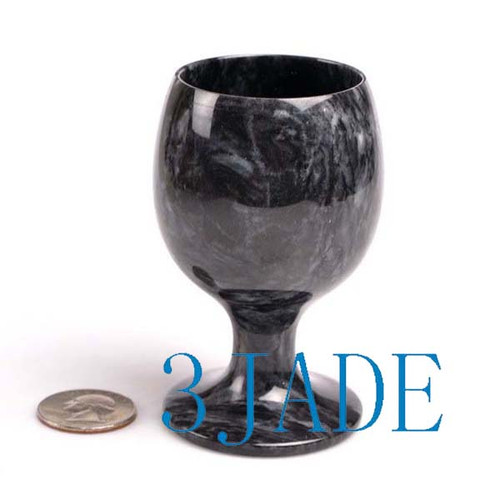 "3 1/2"" Hand Carved Natural Stone / Rock Goblet Calcite Wine Cup -N026101"