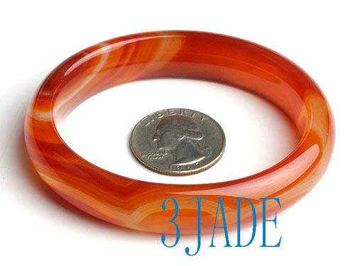 oval shape striped red agate bangle