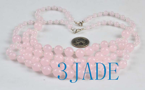 """18"""" Charming Pink Jade / Serpentine 6-12mm Beads Necklace -D010012"""