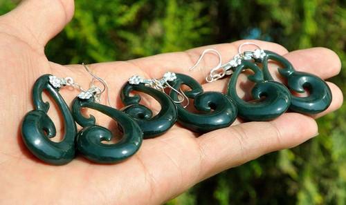Nephrite Jade Koru Swirl Earrings