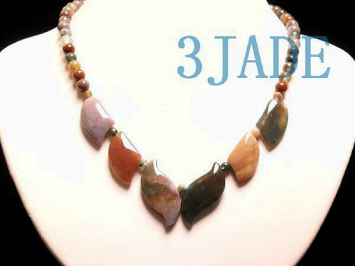 multi-color moss agate beads necklace