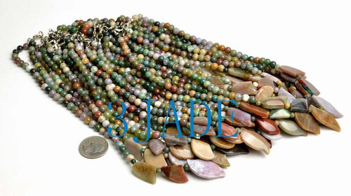 moss agate beads necklace