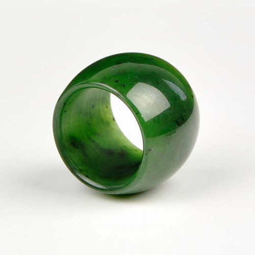 wide green nephrite jade ring
