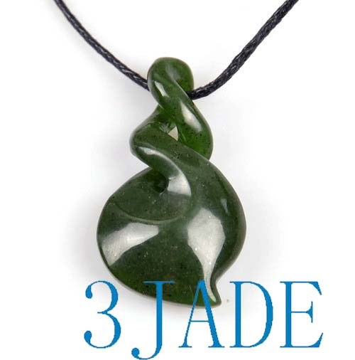 Natural green nephrite jade double twist pendant pounamu greenstone natural green nephrite jade double twist pendant pounamu greenstone necklace g026192 aloadofball Image collections