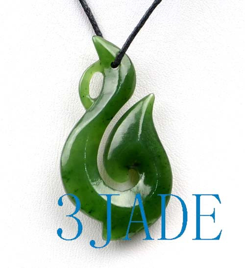 Natural green nephrite jade hei matau fish hook pendant pounamu natural green nephrite jade hei matau fish hook pendant pounamu greenstone necklace g026200 aloadofball Images