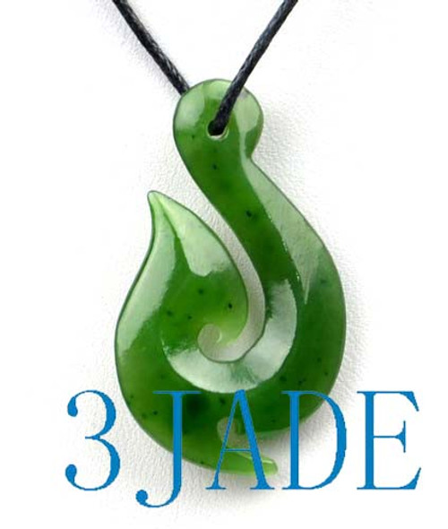 Natural green nephrite jade hei matau fish hook pendant pounamu natural green nephrite jade hei matau fish hook pendant pounamu greenstone necklace g026202 mozeypictures Image collections