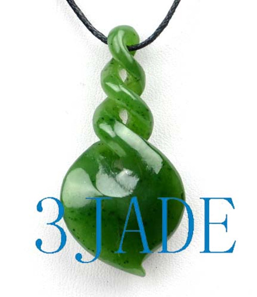 Natural green nephrite jade triple twist pendant pounamu greenstone natural green nephrite jade triple twist pendant pounamu greenstone necklace g026203 aloadofball Image collections