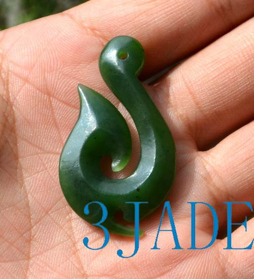 Natural green nephrite jade hei matau fish hook pendant pounamu natural green nephrite jade hei matau fish hook pendant pounamu greenstone necklace g026208 mozeypictures Image collections