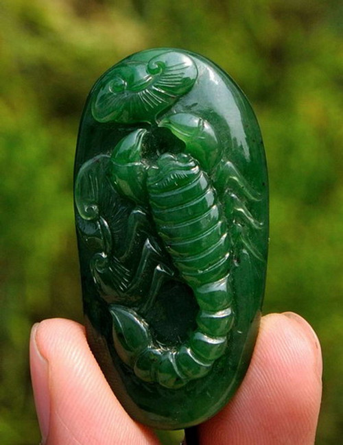 Natural green nephrite jade scorpion pendant necklace amulet natural green nephrite jade scorpion pendant necklace amulet talisman w certificate g026506 mozeypictures Gallery