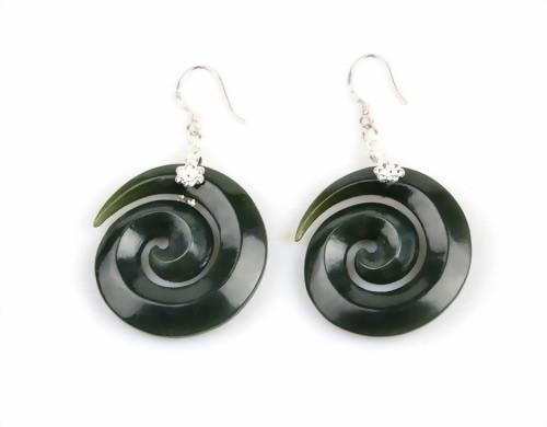 jade swirl earrings