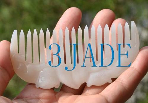 white nephrite jade comb