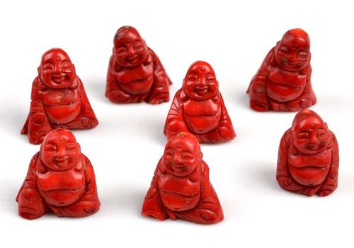 red coral Buddha figurine