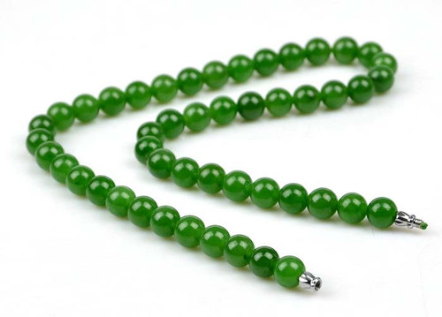 Green Nephrite Jade Beads Necklace