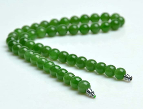 Cat's-Eye Green Nephrite Jade Beads Necklace
