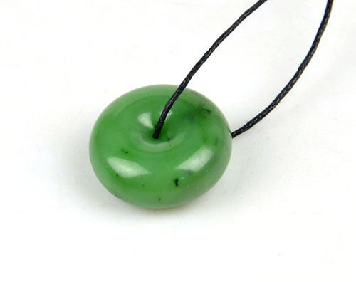 26mm natural green nephrite jade donut disc bead circle pendant 26mm natural green nephrite jade donut disc bead circle pendant necklace g026519 aloadofball Images