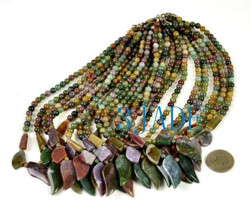 "17"" Natural Multi-color Moss Agate Leaf Shaped Beads Necklace"