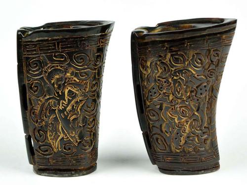 2pcs Hand Carved Natural Horn Cups Vessel Vase Nz00045 3jade