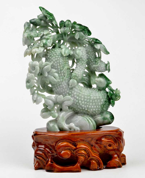 A Grade Natural Jadeite Jade Plant Bird Carving Statue 飞黄腾达 w/ certificate