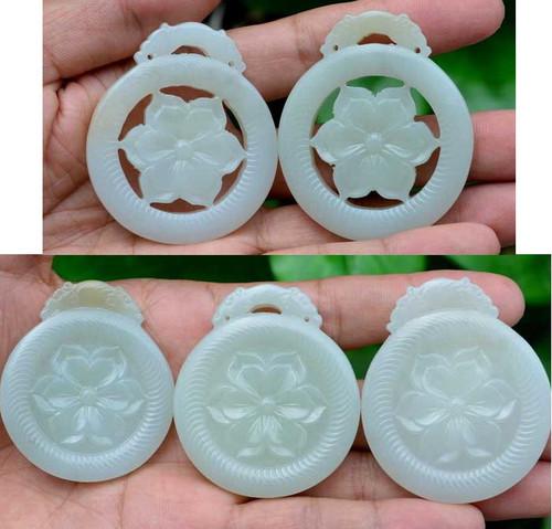 white jade flower pendant