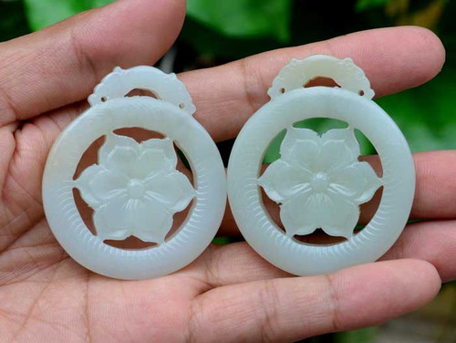 Natural White White Nephrite Jade Flower Pendant / Necklace /Carving w/Certificate