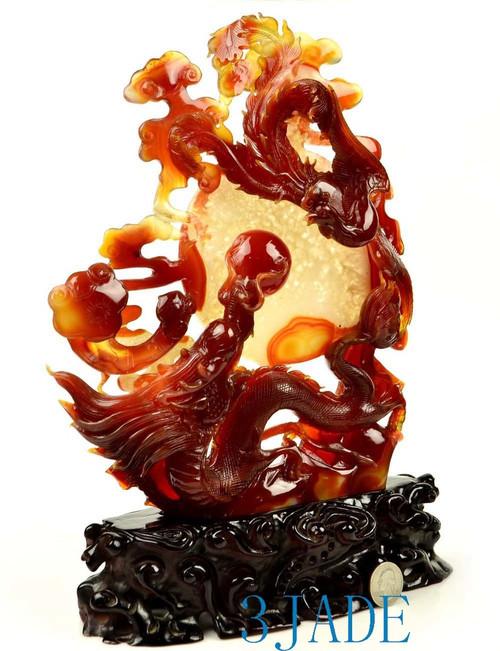 Red Agate Carnelian Dragon Phoenix Statue Chinese Wedding Gift Idea