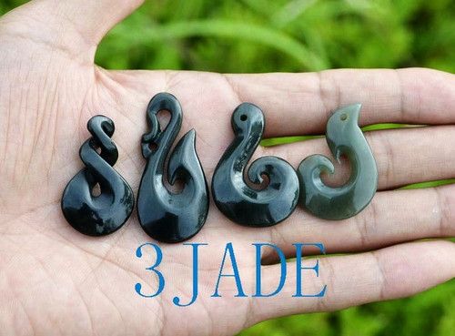 4 New Zealand Maori Design Nephrite Jade Koru Twist Manaia Pendants Various Shape Necklaces Wholesale