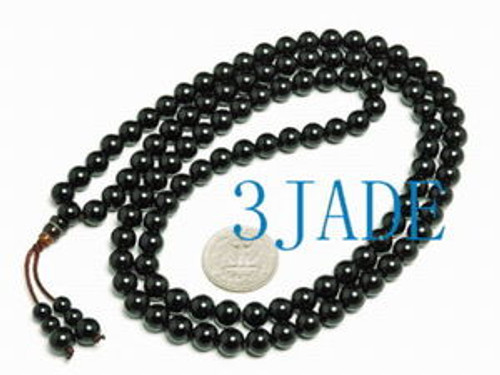 "33"" Tibetan Black Onyx Buddhist Prayer Beads Mala Mantra Meditation Necklace"