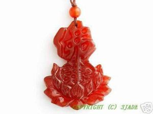 "Natural Red Carnelian ""Budha"" Lotus Pendant"