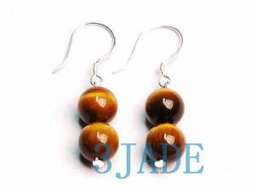Sterling Silver TigerEye Beads Earrings-F004025