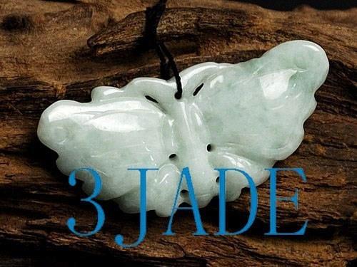 Hand Carved A Grade Natual Jadeite Jade Butterfly Figurine / Pendant