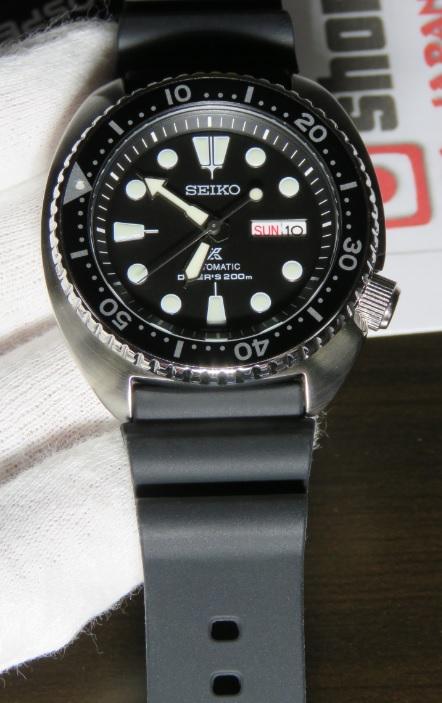 Closeup of Seiko Prospex Turtle Watch