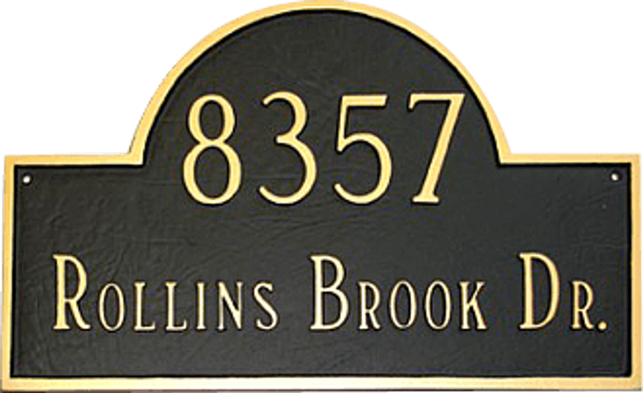 Home Address Plaque shown in Black/Gold Color Combination