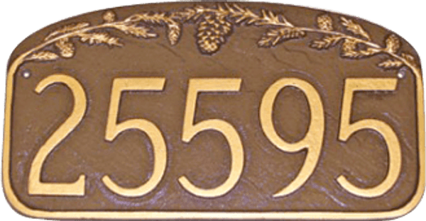 House Number Plaque   Pine Cone Design