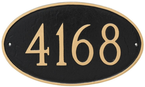 Oval Address Plaque with House Numbers - Black/Gold