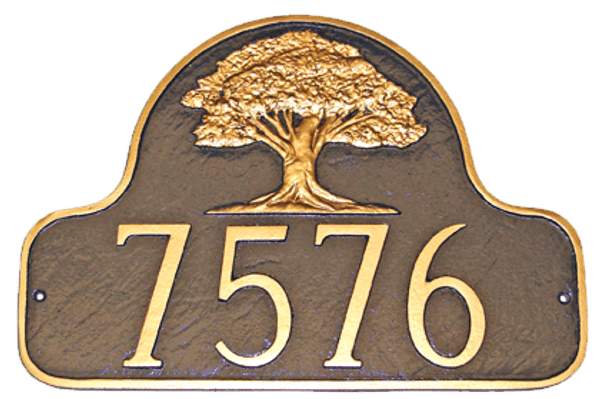 Decorative House Number Plaque shown here in Chocolate background with gold numbers & border