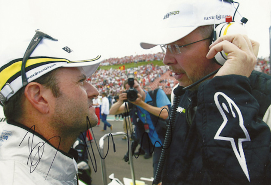 Rubens Barrichello and Ross Brawn Signed Photograph 2009
