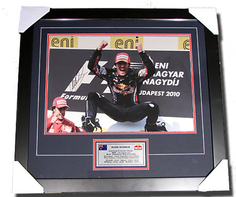 2010 Mark Webber Hungary GP Win Signed Frame