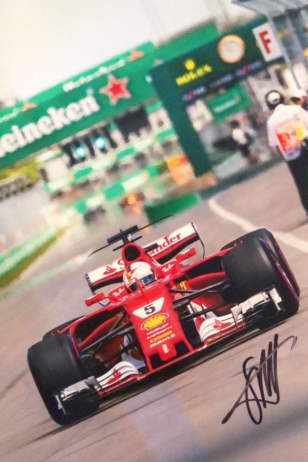 Sebastian Vettel Signed 2017 Canadian GP Ferrari Photograph