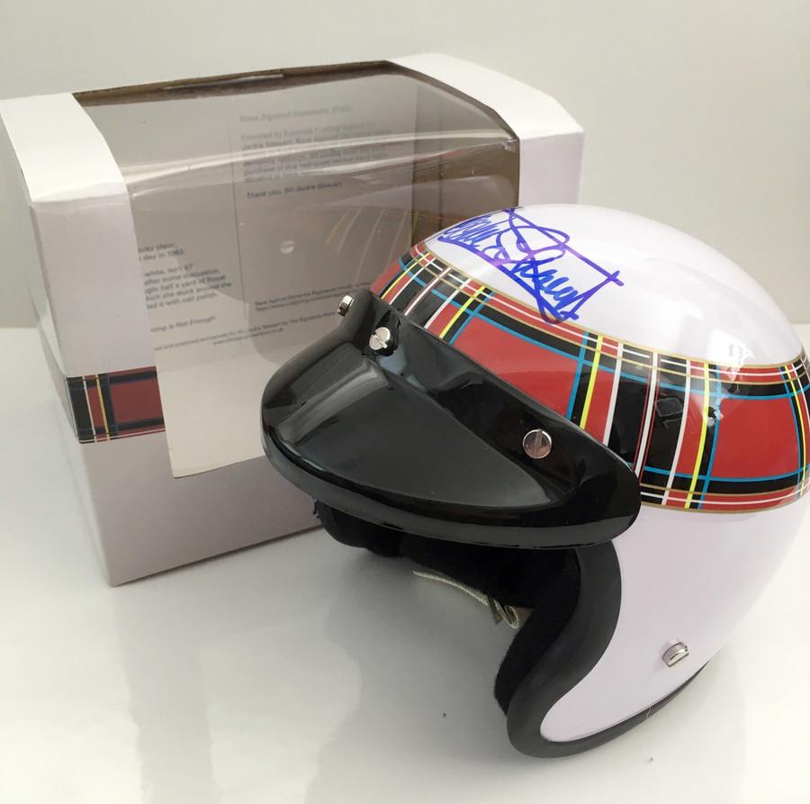 Jackie Stewart Signed 1:2 half scale open face helmet