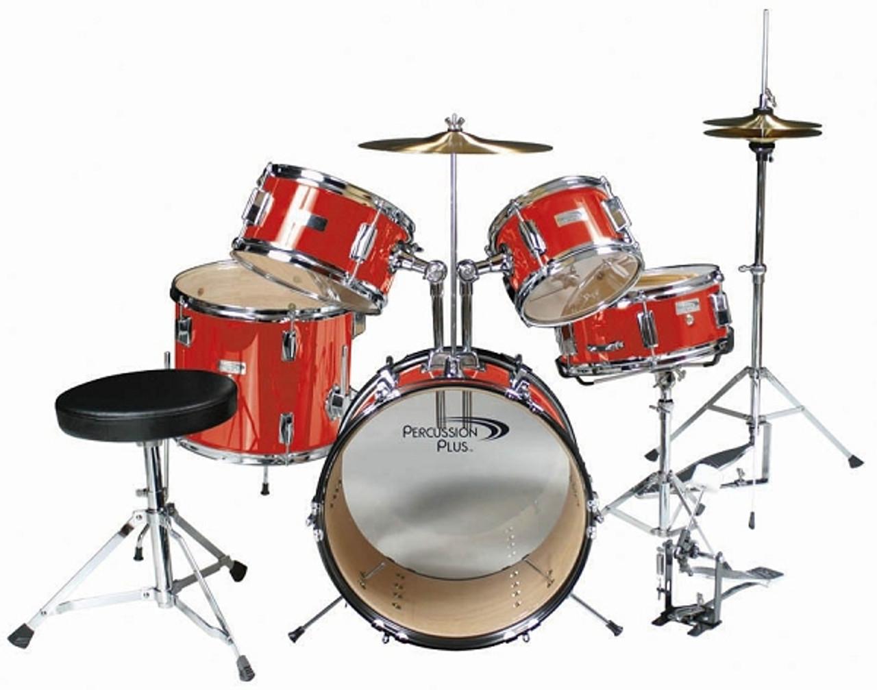 percussion plus 5 piece junior drum set red gearclubdirect. Black Bedroom Furniture Sets. Home Design Ideas